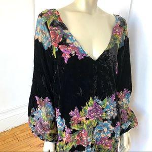 Free people Floral velvet dress
